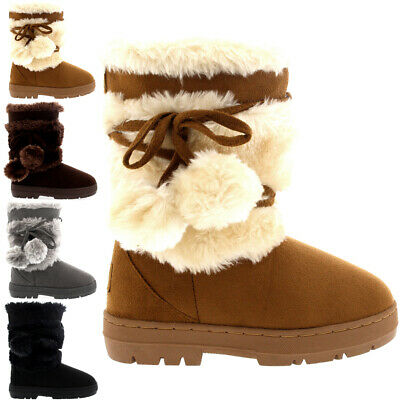 Kids Girls Pom Pom Fur Trim Snow Suede Casual Winter Mid Calf Boots All Sizes