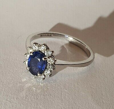 Bague Saphir en Platine /Platinum Sapphire and Diamond Cluster Ring - size 53
