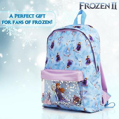 Disney Backpack for Girls Frozen 2 Anna and Elsa School Bags with Glitter Confet