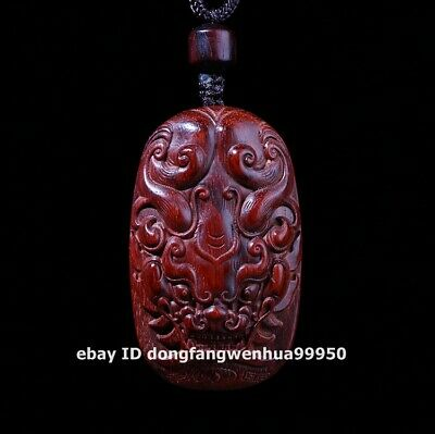 4.9 cm India Lobular sandal wood Foo dog lion Qilin pixiu Dragon Beast Pendant