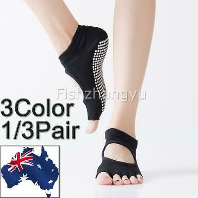 Yoga Non Slip Pilates Massage 5 Toe Socks Full Grip Socks Heel With Gym NEW
