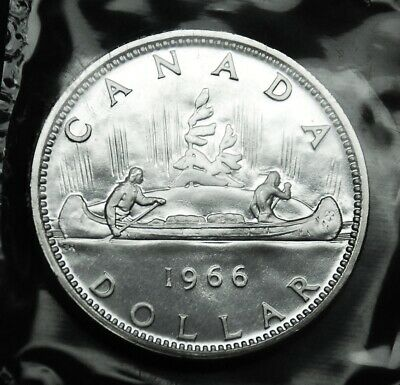 1966 Canadian silver $1 coin:  gorgeous prooflike in original mint cello