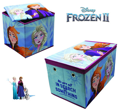 DISNEY FROZEN 2 STORAGE TOY BOX Jumbo Chest / Cushioned Ottoman Collapsible