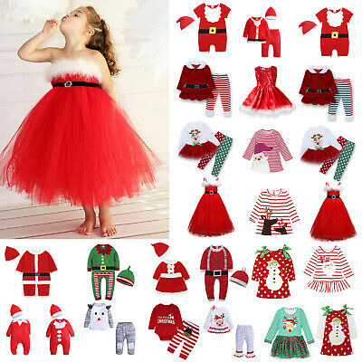 Christmas Kid Boys Girls Xmas Romper Jumpsuit Outfits Set Party Tunic Tutu Dress
