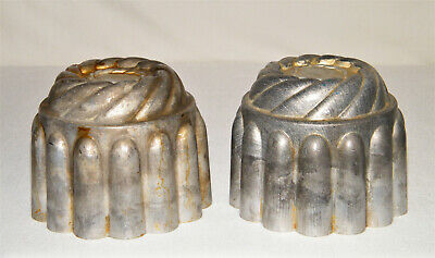 Unusual Vtg/Atq Set (2) Matching SILVER METAL Cake/Pudding/Jello MOLDS AL vs Tin