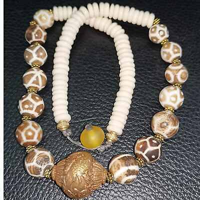 Burmese Old pumptek foodball stone  & shell lovely Beads Necklace  # 39