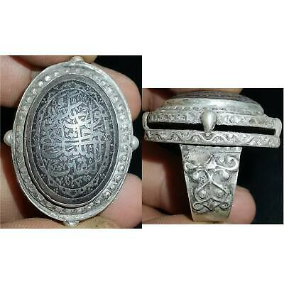 Islamic Holy Writing Antique Stone Wonderful Silver Rare Unique Ring    # 39
