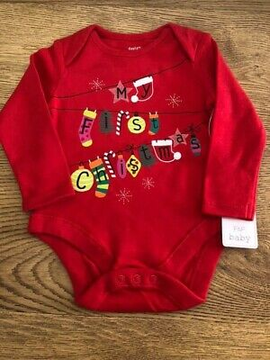 Red My First Christmas Bodysuit 1st Xmas Long Sleeved Vest 3/6 12/18 Months BNWT