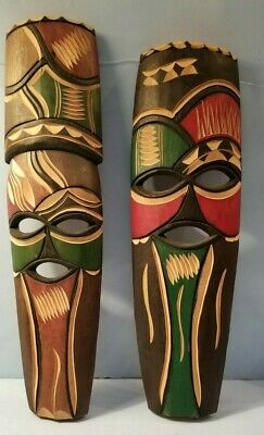 Wood Tribal Pair Faces Hand Carved  Masks