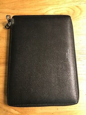 Aspinal Of London A5 Zipped Padfolio In black
