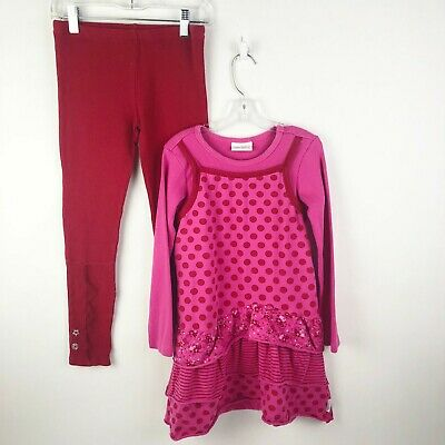 Naartjie Kids Girls Size 7 Red Pink Floral Dot Dress Ruffle Leggings Outfit Set