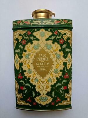 Vintage COTY  Emeraude Talc 3.7 OZ. Tin-Never Opened with protective seal.