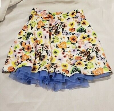beautees girls white colorful flowers floral skirt size 12