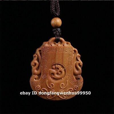 3.5 cm Australian sandalwood wood Foo dog lion Dragon Beast axe amulet Pendants