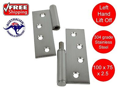 STAINLESS STEEL LEFT HAND  LIFT OFF HINGES 304ss 100 x 75 BUTT HINGE AS1428.1