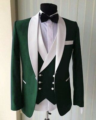 Green Men Suits 3 Piece Shawl Lapel Groom Tuxedos Wedding Dinner Party Prom Suit