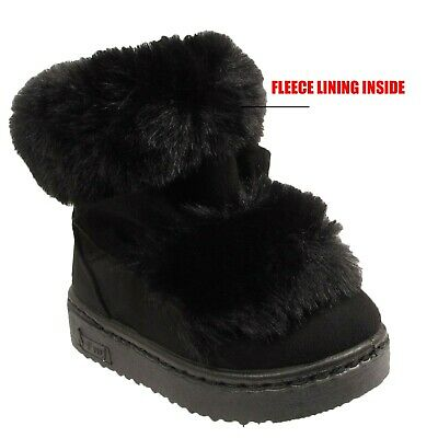 Kids Ankle Boots Girls Snugg Infants Warm Winter Snow Fur Lined Trim Shoes Sizes