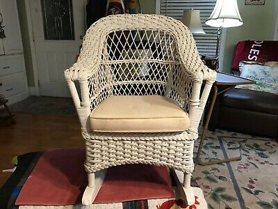 Childs White Wicker Rocker Smithsonian Collection By Henry Link