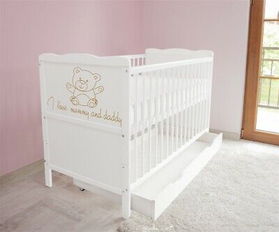 New White Wodden Baby Cot Bed / mattress / teething rails / drawer  a