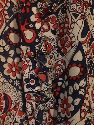 Authentic Vintage  70's 1970s Blouse S Small Red White Blue Ruffled VGC