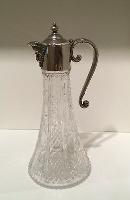 Nice Silver Plate and Cut / Pressed Glass Claret Jug