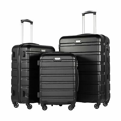 Coolife Luggage 3 Piece Set Suitcase Spinner Hardshell Lightweight TSA Lock 4...