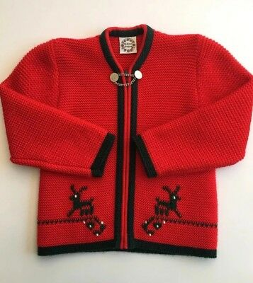 ST PETER TRACHTEN CARDIGAN Child Oktoberfest German Red Green Size 8 - LIKE NEW