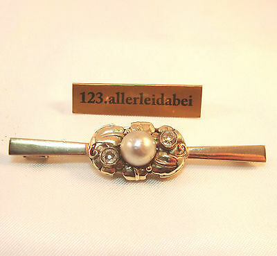 Wundervolle Diamant Brosche 333 Gold Perle old diamond brooch / AS 956