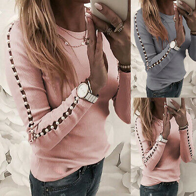 Women Cold Shoulder Blouse Tops Ladies Beads Casual Slim Jumper T Shirt Pullover