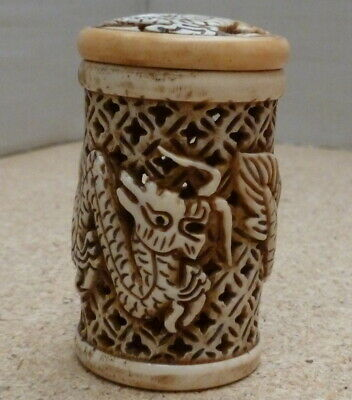 Chinese/Japanese Oriental Carved pierced pot with Dragons