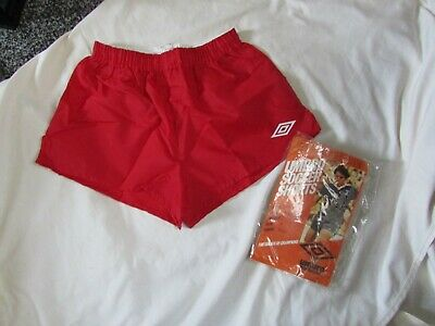 VINTAGE 70s UMBRO SILKY  NYLON FOOTBALL SHORTS SIZE 30 WAIST NEW RED CLUBBING