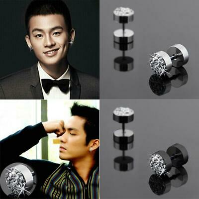 Cool Stainless Steel Gothic Black Men's Punk Ear Studs Barbell Earrings Crystal