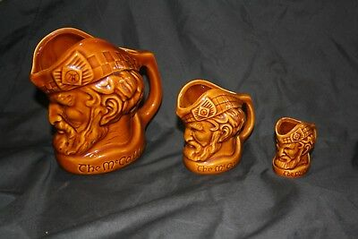 """""""THE McCALLUM"""" SERIES A RARE SET OF 3 TOBY JUGS ALL AS NEW ELISCHER POTTERY"""