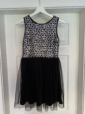 Pretty Kylie Black Silver Sequin Party Dress Girls Size 12yrs Christmas Birthday