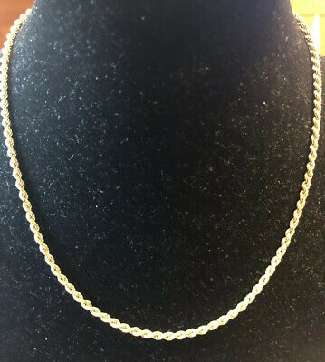 "16"" Long 14K / 14KT / 585 Solid Yellow Gold French Rope Twist Chain Necklace"