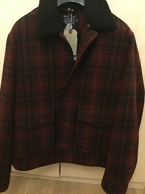 John Lewis Mens Wool Bomber Lumber Jacket , Black And red Checks , XL RRP £195