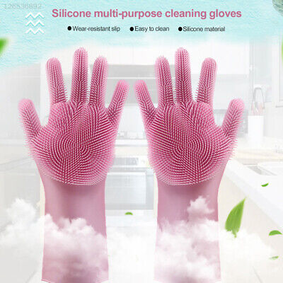F49D 1Pair Magic  Gloves Dish Washing Massage Brush Durable Cleaning Brush