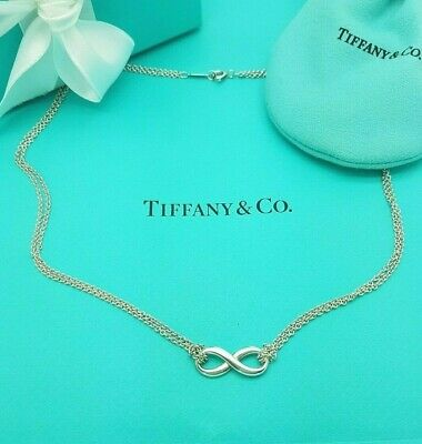 Genuine Tiffany & Co. Silver Infinity Double Chain Pendant Necklace 16 Inches