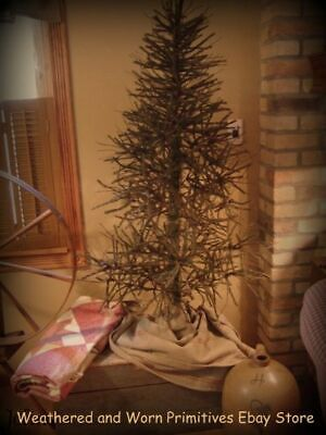 Primitive Country 4.5' German Twig Christmas Tree-Great Green Brown Color & Twig