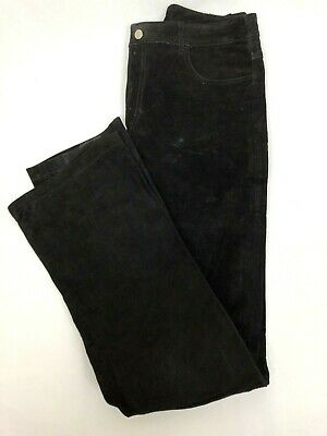 BB Dakota Black Suede Leather Pants Women's Size 7/8 Straight Leg Lined