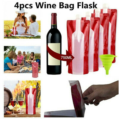 4pcs/pack Collapsible Wine Bag Flask Wine Bottle Cooler for Home Camping