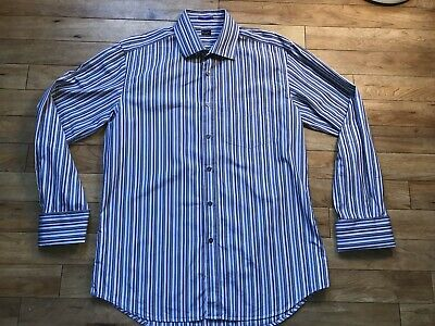 Men/'s shirt  Stripe With Tie and Hanky Matching Color Cat Eyes Cuffling FL 629