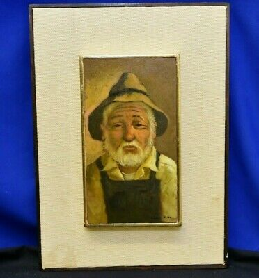 "JOSE SAMANO TORRES ""Man"" Original Oil Painting on Masonite Listed Mexican Artist"