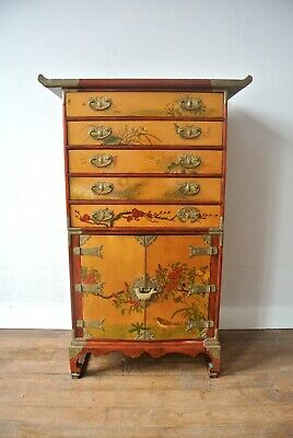 Vintage / Antique Asian Rare Yellow Lacquered Korean Medicine Chest Cabinet