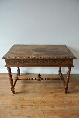 Early 19th Century Hand Carved French Oak Side Table