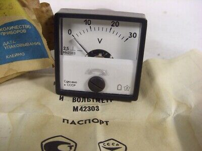 Vintage USSR Analog Voltmeter M42303. measurement range 0-30V