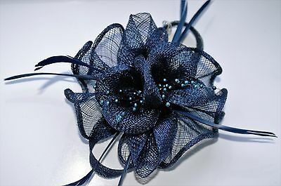 Beautiful Navy Blue  feather & flower design facinator wedding/