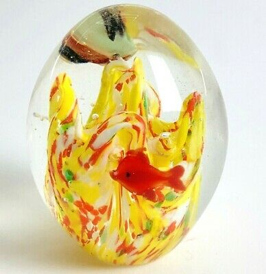 Vintage Glass Paperweight Fish Aquarium Nautical Egg Murano Style Art Bubble