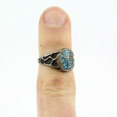 Vintage Sterling Silver Turquoise Ring Cross Antique jewelry estate find tribal