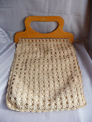 Large cream / beige crocheted lined knitting sewing craft bag